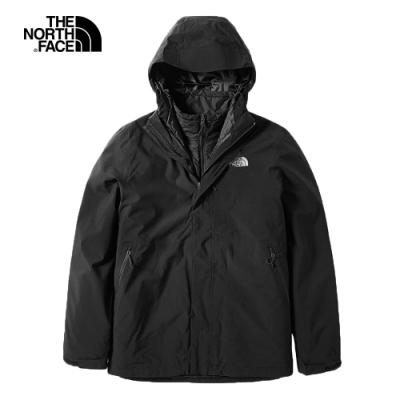 The North Face北面男款黑色防水保暖戶外三合一外套 3VSJKX7