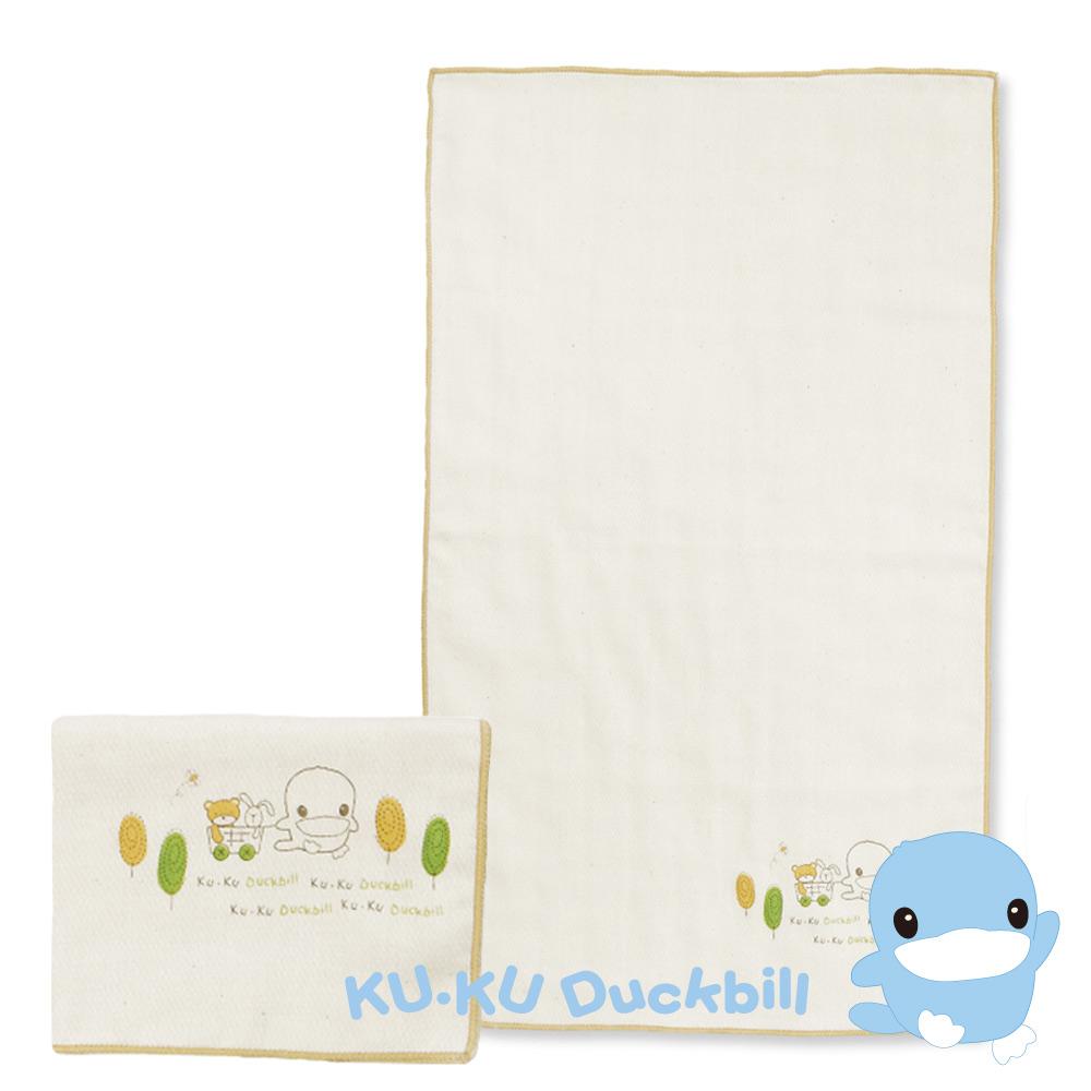 KU.KU酷咕鴨-有機緹花紗布澡巾2入(2372)