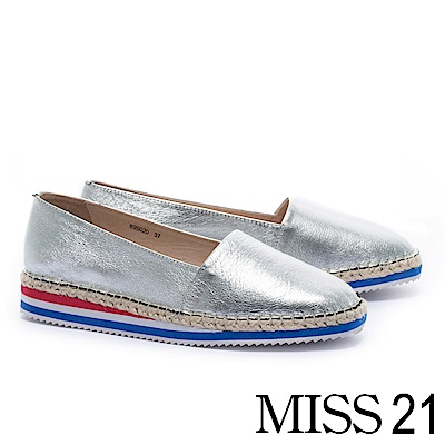 厚底鞋 MISS 21 活潑彩虹底設計草編厚底鞋-銀