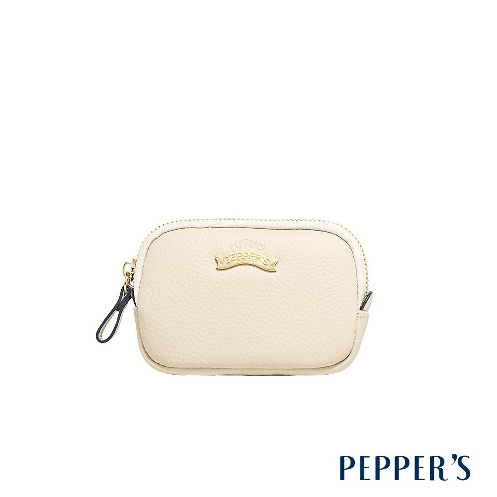 PEPPER'S  Doris 牛皮拉鍊零錢包 - 杏仁白