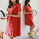 正韓 大鈕排釦棉麻古典洋裝-(共二色)El Shuddai