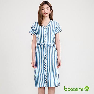 bossini女裝-丹寧長版洋裝藍