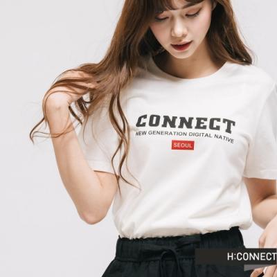 H:CONNECT 韓國品牌 女裝 -品牌印字圓領T-shirt -白