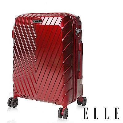 ELLE 法式V型鐵塔系列- 25吋純PC霧面防刮耐撞行李箱-野薔薇EL31199