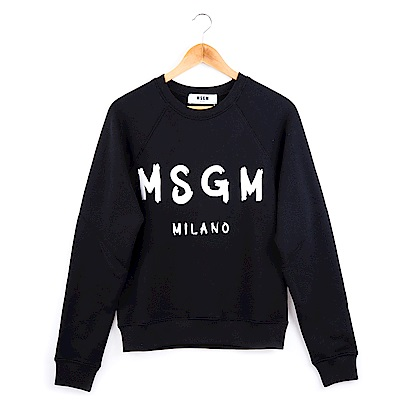 MSGM 經典油漆塗鴉白色英文字母LOGO長袖上衣 (黑色)