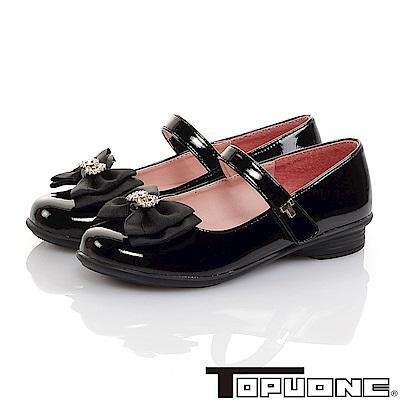 TOPUONE童鞋 傳統手工鞋廠蝴蝶結水鑽減壓公主皮鞋-黑