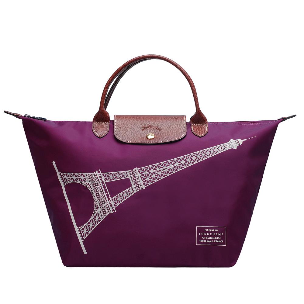 LONGCHAMP 巴黎鐵塔紀念款拉鍊摺疊購物包(中-大麗花色)