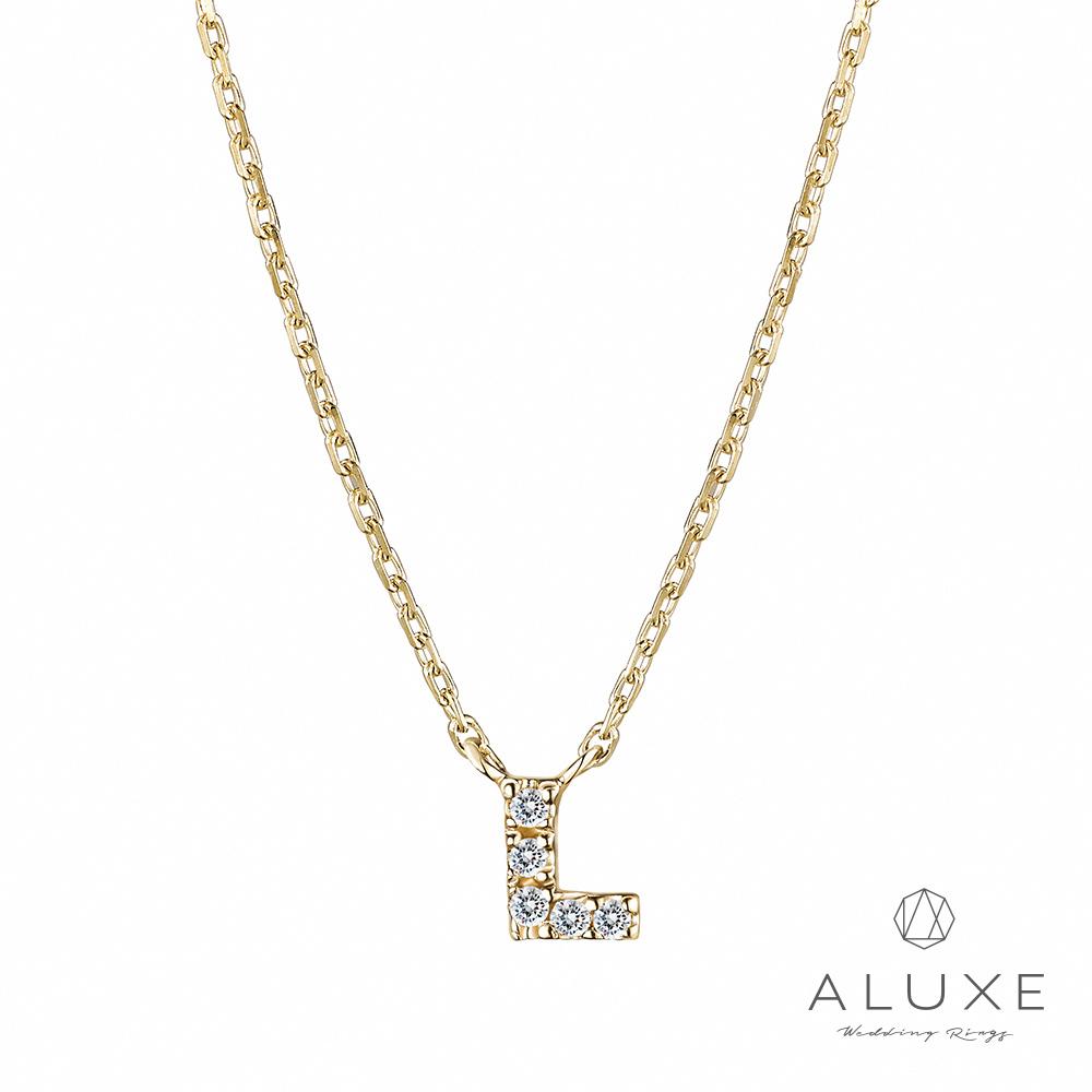 ALUXE亞立詩Alphabet系列10K鑽石項鍊-L