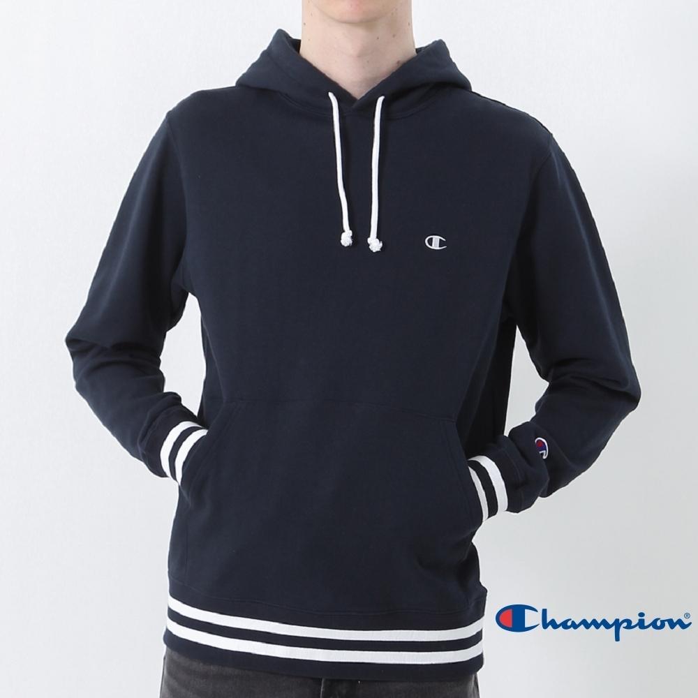 Champion Basic 經典款條紋縮口連帽Tee 深藍