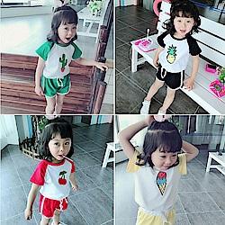 小衣衫童裝  兒童夏季新款可愛印花插肩短袖T短褲套裝1080408