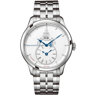 ERNEST BOREL 瑞士依波路錶 復古系列 兩地時區不鏽鋼-白色42mm