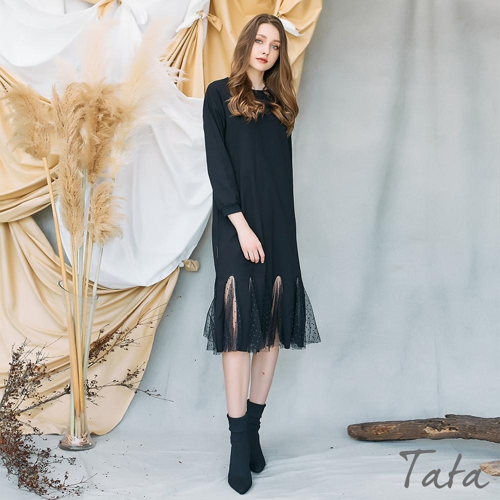 下擺造型鏤空點點網紗洋裝 共二色 TATA-(M~XL) (黑色)