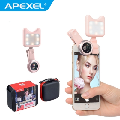 【APEXEL】美拍補光燈+廣角微距自拍套裝組(APL-3663FL)