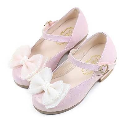 Swan天鵝童鞋-閃亮水鑽菱格紋小高跟公主鞋3868-粉