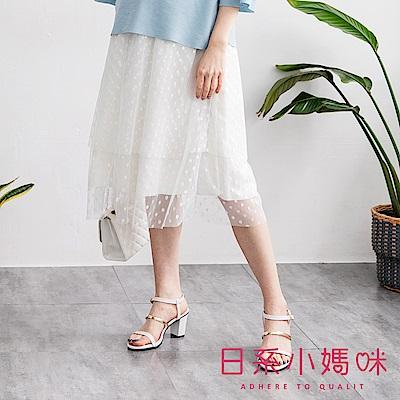 日系小媽咪孕婦裝-孕婦褲~氣質甜美風雙層點點紗裙 M-L (共二色)