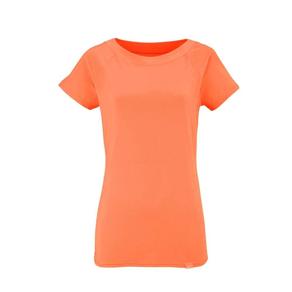 法國【EiDER】女排汗透氣彈性短袖T恤 / 7EIV3918-活力橘