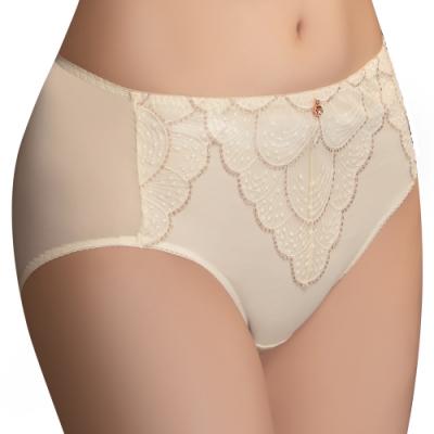 思薇爾 流金巴洛克系列M-XXL蕾絲中腰三角內褲(奶香黃)