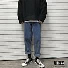 JILLI-KO 寬鬆直筒復古牛仔褲- 藍色
