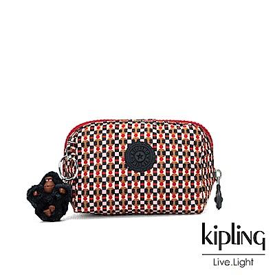 Kipling 紅褐火柴棒幾何圖騰經典拉鍊化妝包-INAMI S