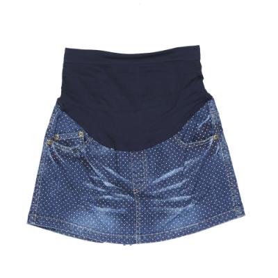 【ohoh-mini孕婦褲】牛仔點點前裙後褲孕婦褲