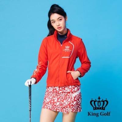 【KING GOLF】文字印圖可收式連帽外套-紅色