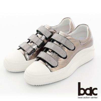【bac】復古風潮排鑽魔鬼氈厚底台休閒鞋-槍色