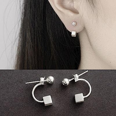 梨花HaNA 韓國925銀極簡系列上下拉絲小方塊耳環
