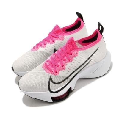 Nike 慢跑鞋 Zoom Tempo Next FK 女鞋 氣墊 避震 路跑 運動 健身 襪套 球鞋 白 粉 CI9924102