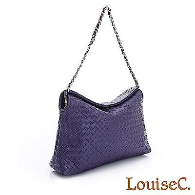 LouiseC. 羊皮編織掀蓋式磁釦小包-紫05L05-0030A10