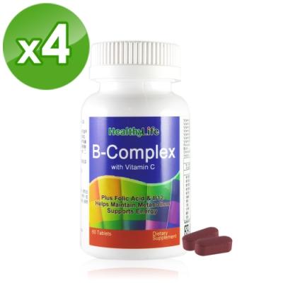 【Healthy Life】加力活沛力水溶性維他命B+C錠(60顆*4瓶)