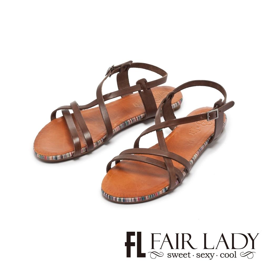FAIR LADY PORRONET全真皮不對稱交叉繞帶平底涼鞋 摩卡