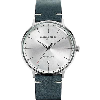 GIORGIO FEDON 1919 CF 復古系列機械錶-銀x藍色/42mm
