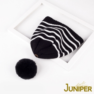 JUNIPER女款條紋針織刷毛絨內裡防風保暖可拆式絨毛球冬帽