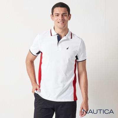 Nautica修身拼接撞色短袖POLO衫-白
