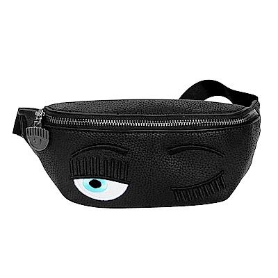 CHIARA FERRAGNI 新款立體眨眼皮革LOGO拉鍊腰包 (黑色)