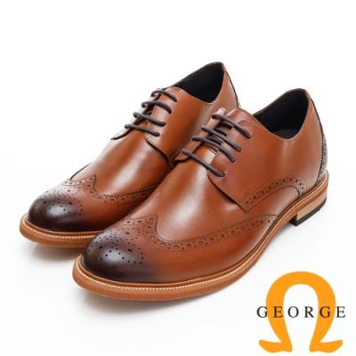 GEORGE 喬治皮鞋 內增高系列-經典漸層雕花綁帶紳士皮鞋-棕色