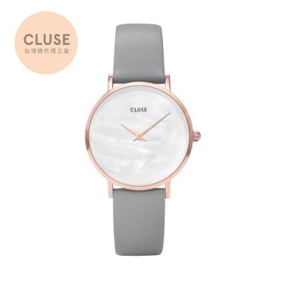 CLUSE Minuit午夜玫瑰金皮革錶帶款 泥灰色33mm