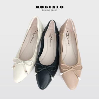 Robinlo全真皮法式輕甜美蝴蝶結尖頭平底娃娃鞋 米白/杏/黑