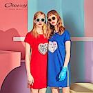 OUWEY歐薇 可翻式愛心亮片造型洋裝(藍/紅)