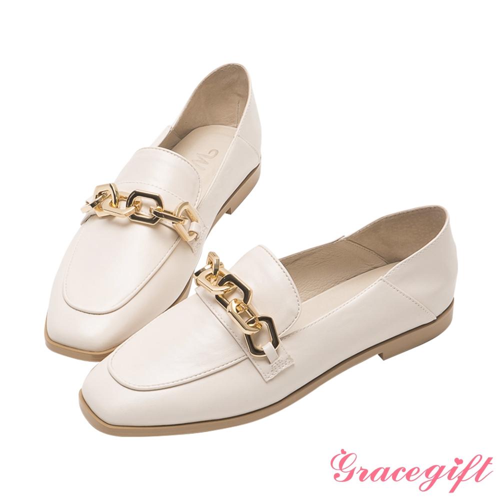 Grace gift X唐葳-聯名立體鍊條平底樂福鞋 米白