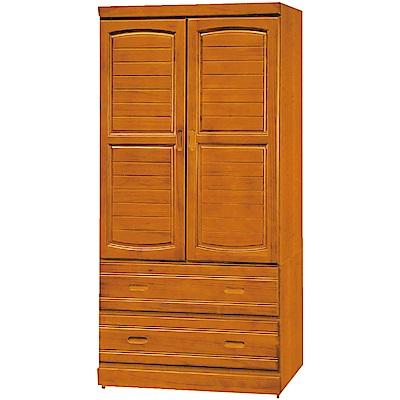 綠活居 妮絲3尺實木二門二抽衣櫃/收納櫃(二色)-90x54x180cm免組