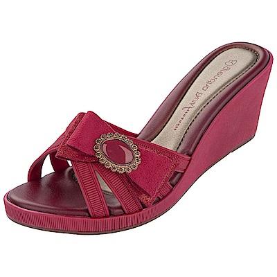 GRENDHA 極致典雅釦飾楔型鞋-紅