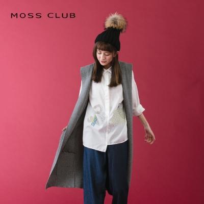 【MOSS CLUB】休閒連帽長版-針織衫(紅色)