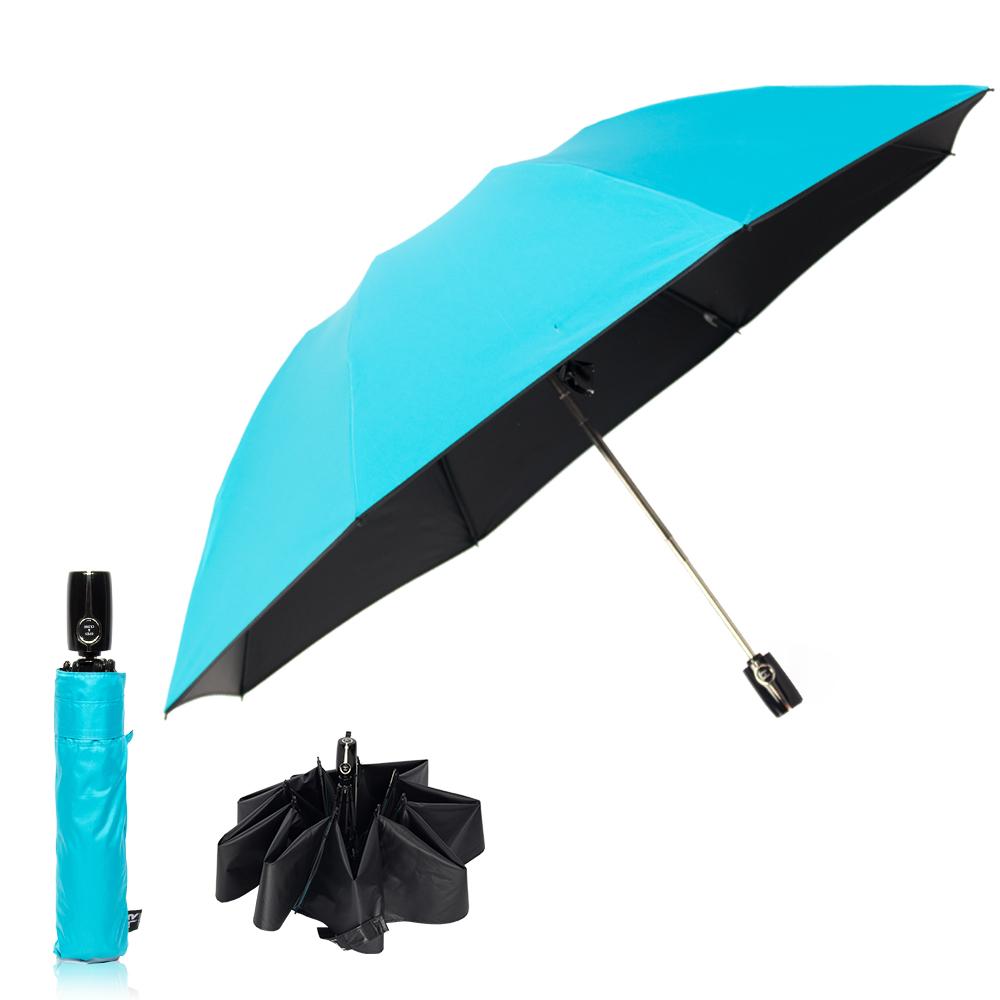 雙龍TDN 反向自動開收黑膠抗UV傘-蒂芬藍