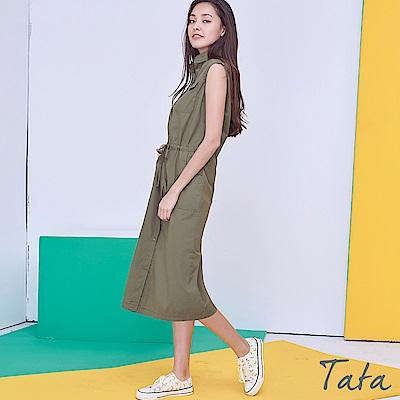 排扣綁帶收腰洋裝 共二色 TATA