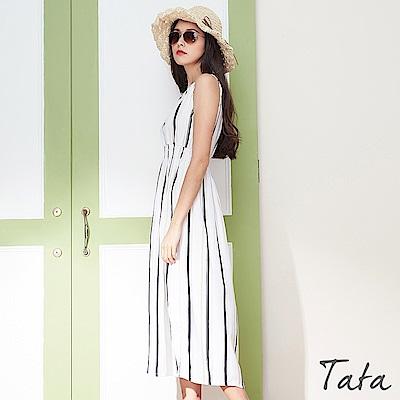 條紋鬆緊腰雪紡洋裝 共二色 TATA