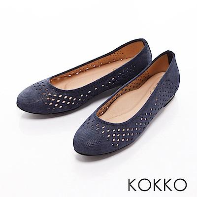 KOKKO- 舒適圓頭縷空幾何真皮平底金屬跟-黯藍