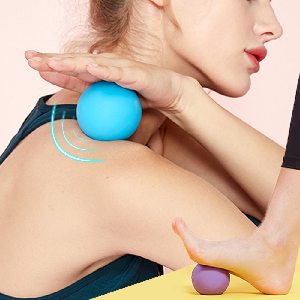 E.dot 矽膠紓壓筋膜按摩球/瑜珈按摩球(二色選)