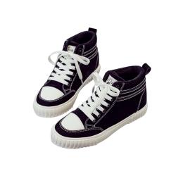 拼接雙條紋高筒帆布鞋 共二色 TATA
