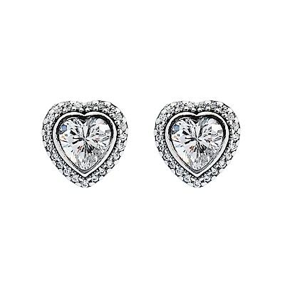 Pandora 潘朵拉 閃耀心型鑲鋯 純銀耳環